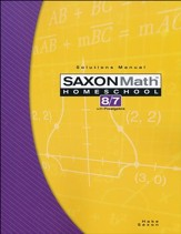 Saxon Math 8/7, 3rd Edition, Solutions Manual