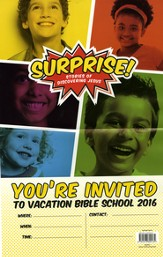 Surprise!: Stories of Discovering Jesus, VBS 2016 Invitation Poster