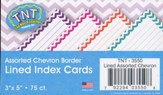 Assorted Chevron Border Lined  3 x 5 Index Cards (Pack of 75)