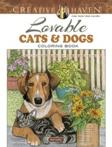 Lovable Cats and Dogs Adult Coloring Book