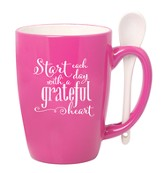 Start Each Day With A Grateful Heart Mug with Spoon