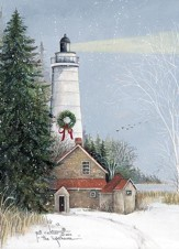 The Lighthouse with Wreath Christmas Cards, Box of 16
