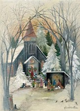 Holy Night, Church, Christmas Cards, Box of 16