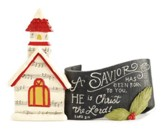 A Savior Has Been Born Church with Scroll Figurine