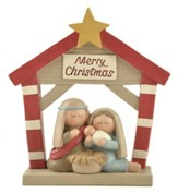 Manger with Star Figurine, Merry Christmas
