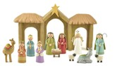 Folk Art Nativity Set with Camel 13 Pieces