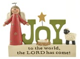 Joy To The World Block with Angel, Manger & Sheep