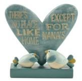 There's No Place Like Home, Except For Nanas Heart with Birds Figurine