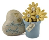 Mom, You Are Deeply Loved Flower Pot with Heart Rock