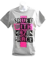 SWAG, Saved with Amazing Grace Shirt, Gray, Large
