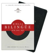 Biblia Bilingue RVR 1960-KJV, Piel Fab. Negro Ind.  (RVR 1960-KJV Bilingual Bible, Bon. Leather Black Ind.) - Imperfectly Imprinted Bibles