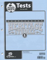 BJU Press Heritage Studies Student Test Key, Grade 1, 3rd Edition