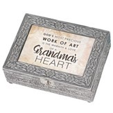 God's Most Precious Work of Art is the Warmth & Love of a Grandma's Heart, Silver Metal Music Box