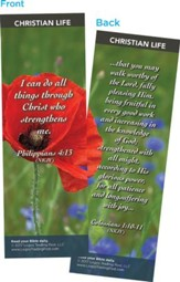 I Can Do All Things Through Christ Who Strengthens Me Bookmarks, Pack of 25