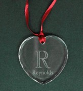 Personalized, Heart Crystal Ornament, Family Initial