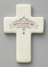 Jesus Loves Me Cross, White