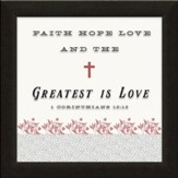 Faith, Hope, Love, 1 Corinthians 13:13, Printed Glass Framed Art