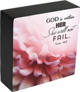 God Is Within Her, Psalm 46:5, Box Plaque/6x6x2