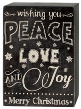 Peace, Love, Joy, Chalkboard Sign