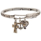 Two Tone Charm Bracelet, Faith Hope Love