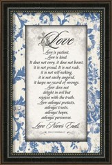 Love Is Patient, Framed Art, Blue