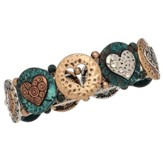 Burnished Bracelet, Tri Tone with Hearts