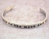 Pewter Cuff Bracelet, I Love You To The Moon & Back