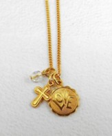 Gold Love Disc with Cross on 18 Chain
