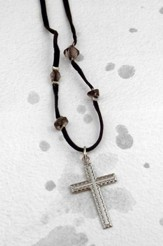 Silver Etched Cross on Black Velvet with Amethyst Cord