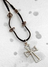 Silver Open Cross with Hearts on Black Velvet
