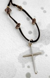 Silver Narrow Cross on Black Velvet                         Cord