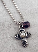Antique Silver Cross with Pearl and Amethyst Bead on 18 Ball Chain
