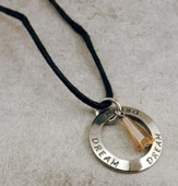 Silver Plated Disc Necklace, Dream