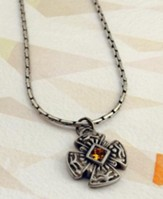 Pewter Cross with Topaz Stone on 18 Link Chain