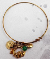 Gold Expandable Bracelet, Cross, Love Disc, Claddagh