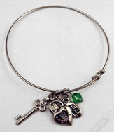 Silver Expandable Bracelet, Heart Lock, Key, Cross