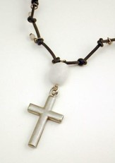 Black Leather Expandable Necklace with Agate Stone and Pewter Cross