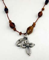 Topaz and Amber 18 Cord with Pewter Open Cross
