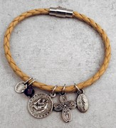 St Christopher Leather Charm Bracelet