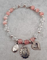 Crystal Stretch Rose Cat's Eye Bead Bracelet with Silver Guardian Angel and Heart Charms