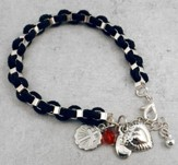 Braided Suede Bracelet with Silver Cross Disc and Heart Charms