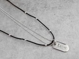 Leather & Bead with Silver Love Tag
