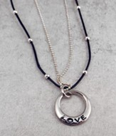 Leather & Bead with Silver Love Disc
