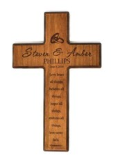 Personalized, Small Cross, Love Never Fails, Cherry
