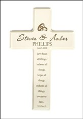 Personalized, Small Cross, Love Never Fails, Cream