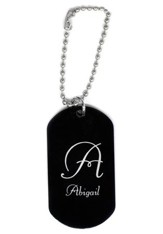 Personalized, Aluminum Dog Tag, Initial, Black