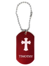 Personalized, Aluminum Dog Tag, Cross, Red