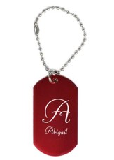 Personalized, Aluminum Dog Tag, Initial, Red