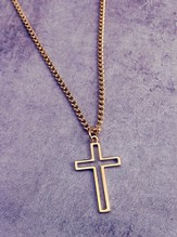 Gold Open Cross on 24 Curb Chain