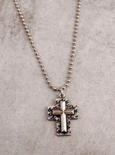 Dove Cross with Pewter Raised Cross on 24 Ball Chain